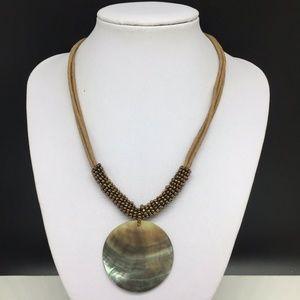 Lia Sophia Abalone Shell Circle Pendant Necklace